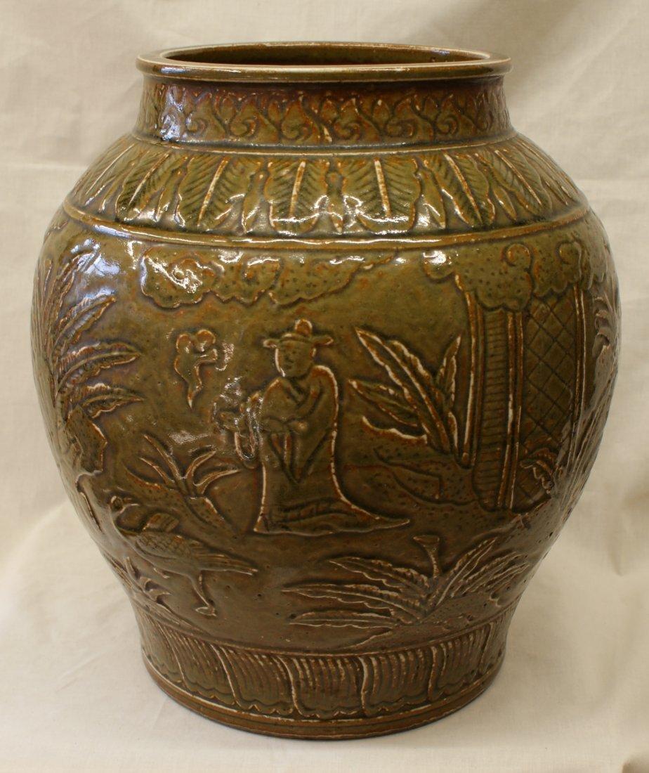 Green glaze jar.  Ming Period.
