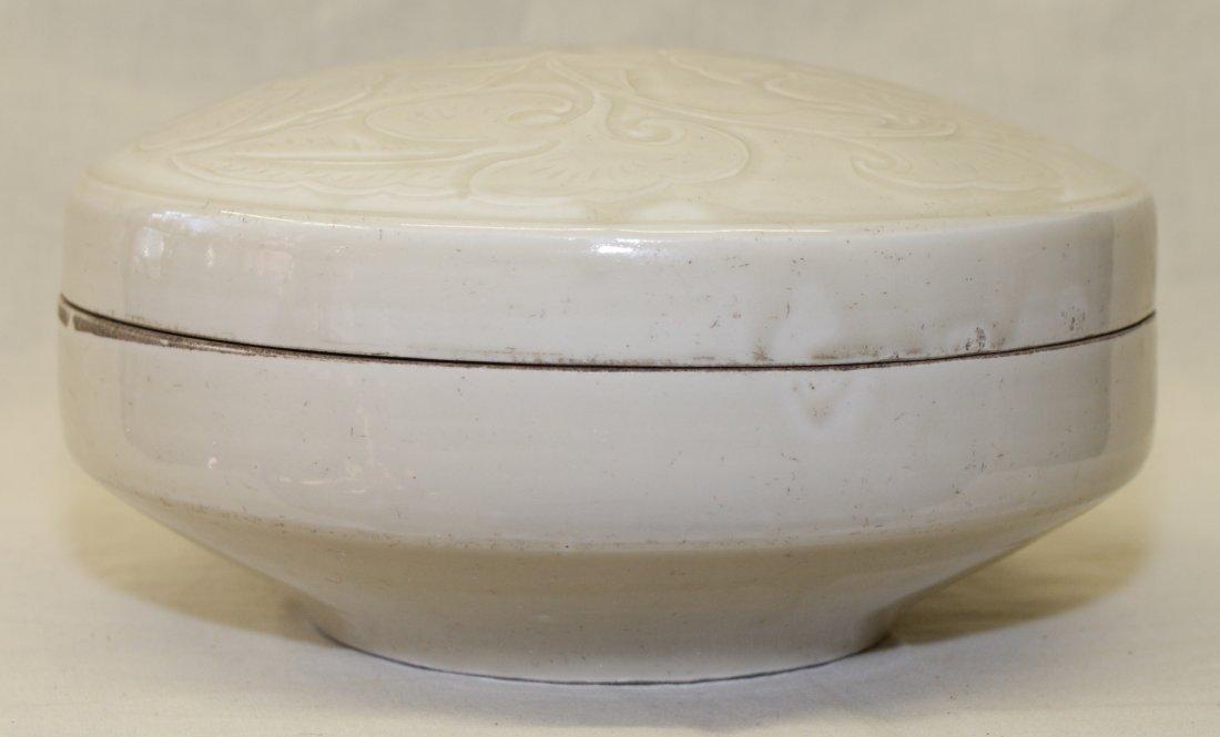 White glaze dingyao box, Song thru Ming Period.