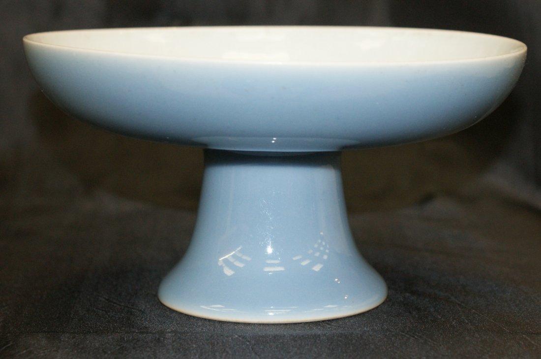 Sky blue stem plate.  Qing Qianlong Mark.