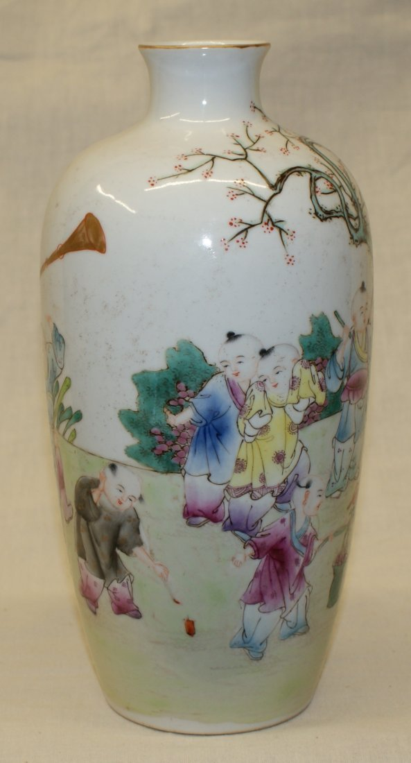 Famille rose vase painting of boys at play.