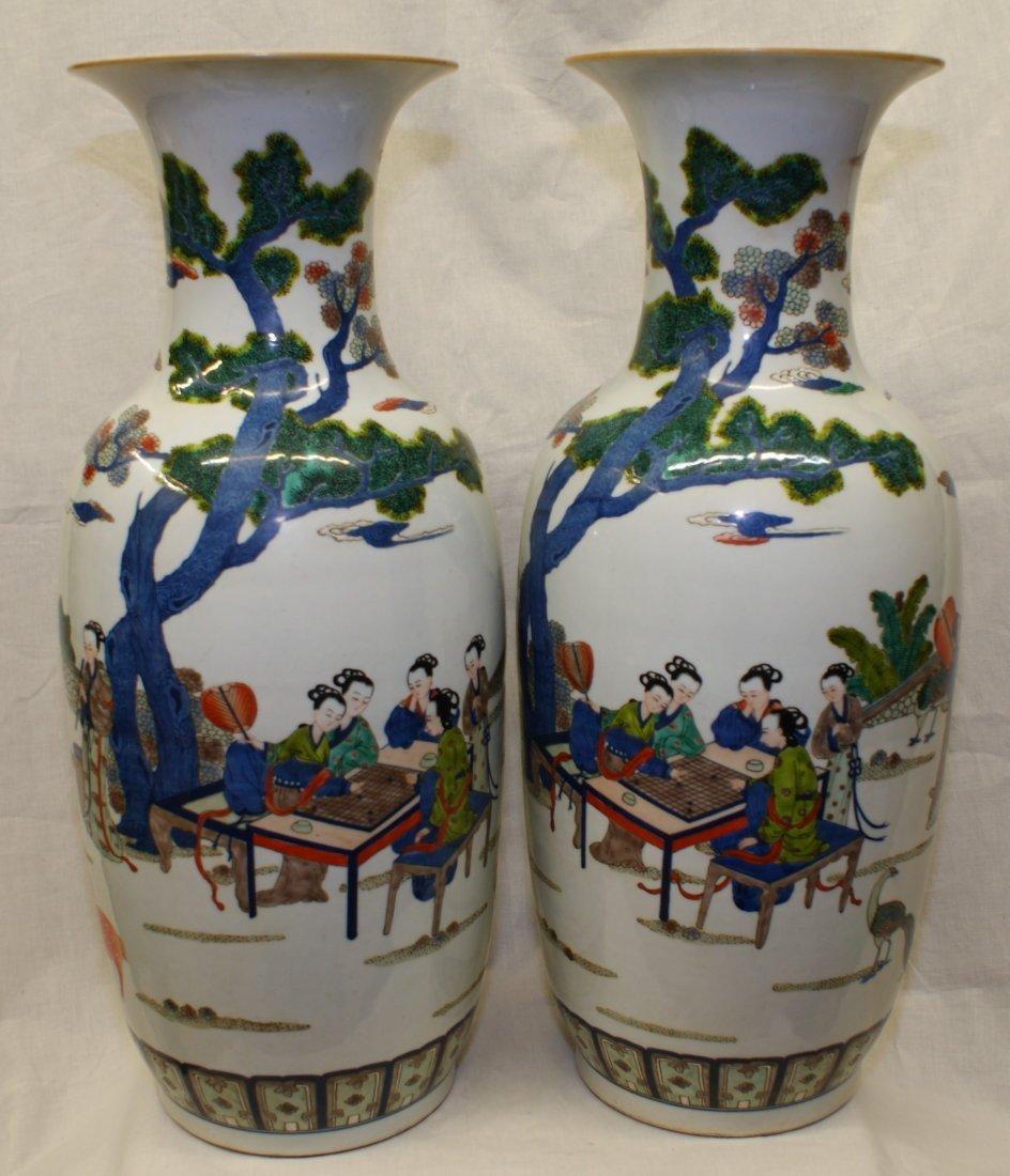 Pair of large doucai vase.  Qing Jiaqing Mark.