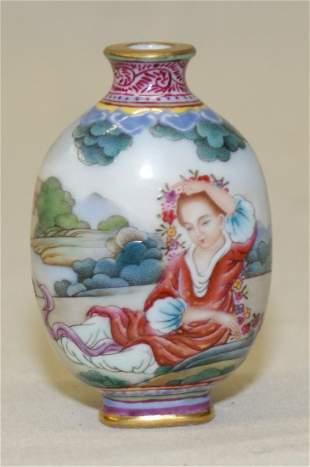 Bronze enamel snuff bottle. Qianlong Mark.