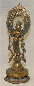 Gilt bronze guanyin.  Tang Period.