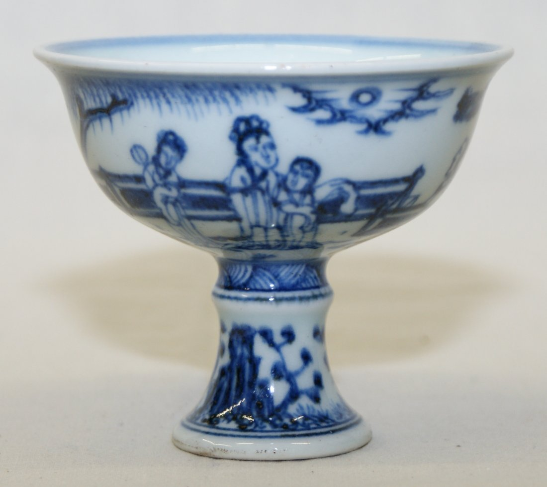 Blue and white stem bowl.  Ming Xuande Mark.