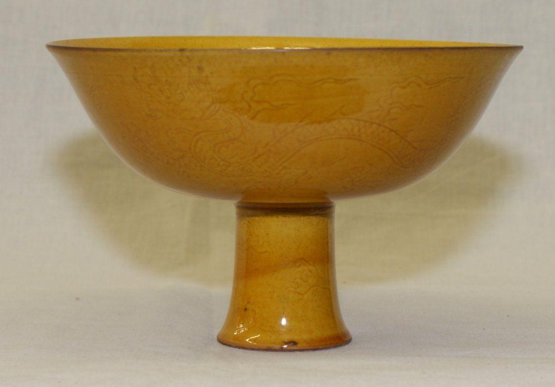 Yellow glaze stem bowl. Ming HongZhi Mark.