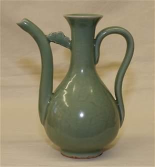 Celadon Longguan ewer. Yuan thru Ming Period.