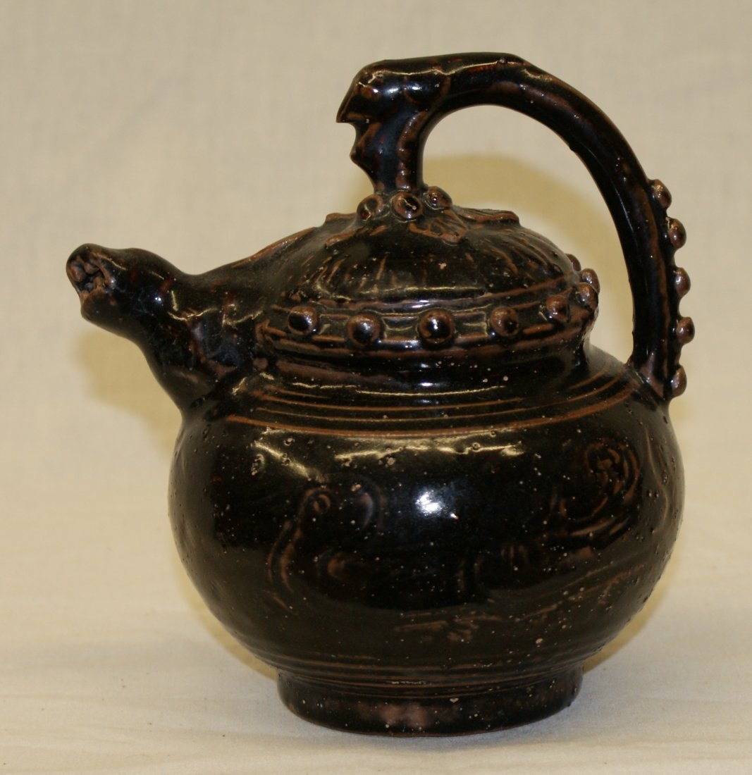 Black glaze ewer.  Song thru Ming Period.
