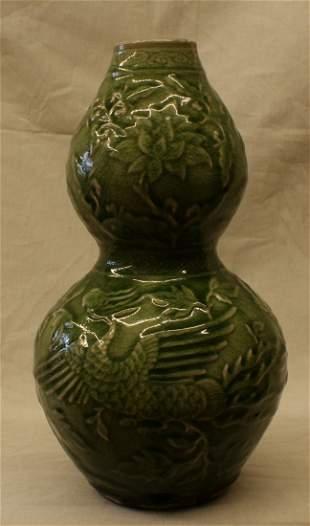 Green glaze double gourd vase, Yuan Period.
