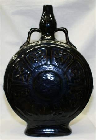 Large black glaze flask, Ming Period.
