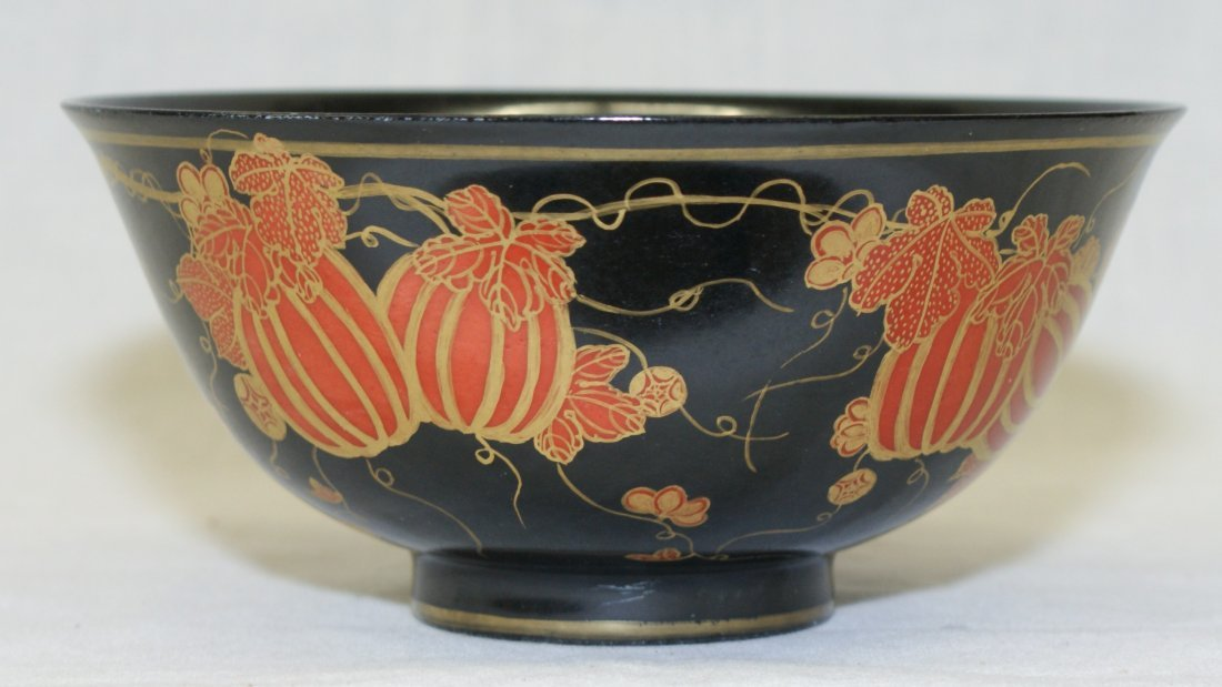 Black glaze bowl. Qing Qianlong Mark.