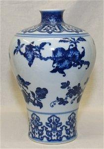 Blue and white Meiping. Qing YongZheng Mark.