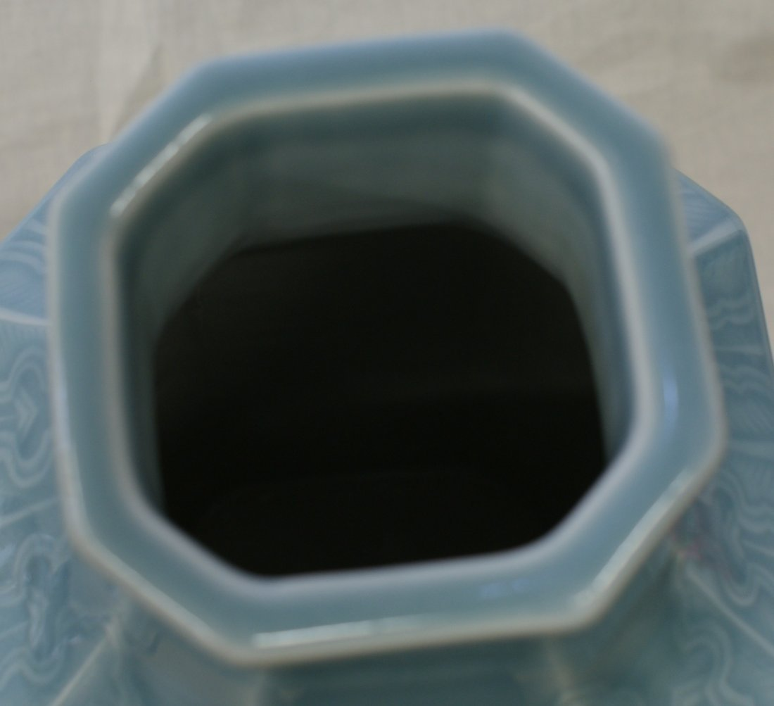 Blue glaze vase.  Qing Jiaqing Mark. - 4
