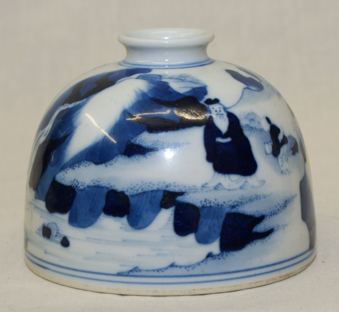 Blue and white water holder. Qing Kangxi Mark.