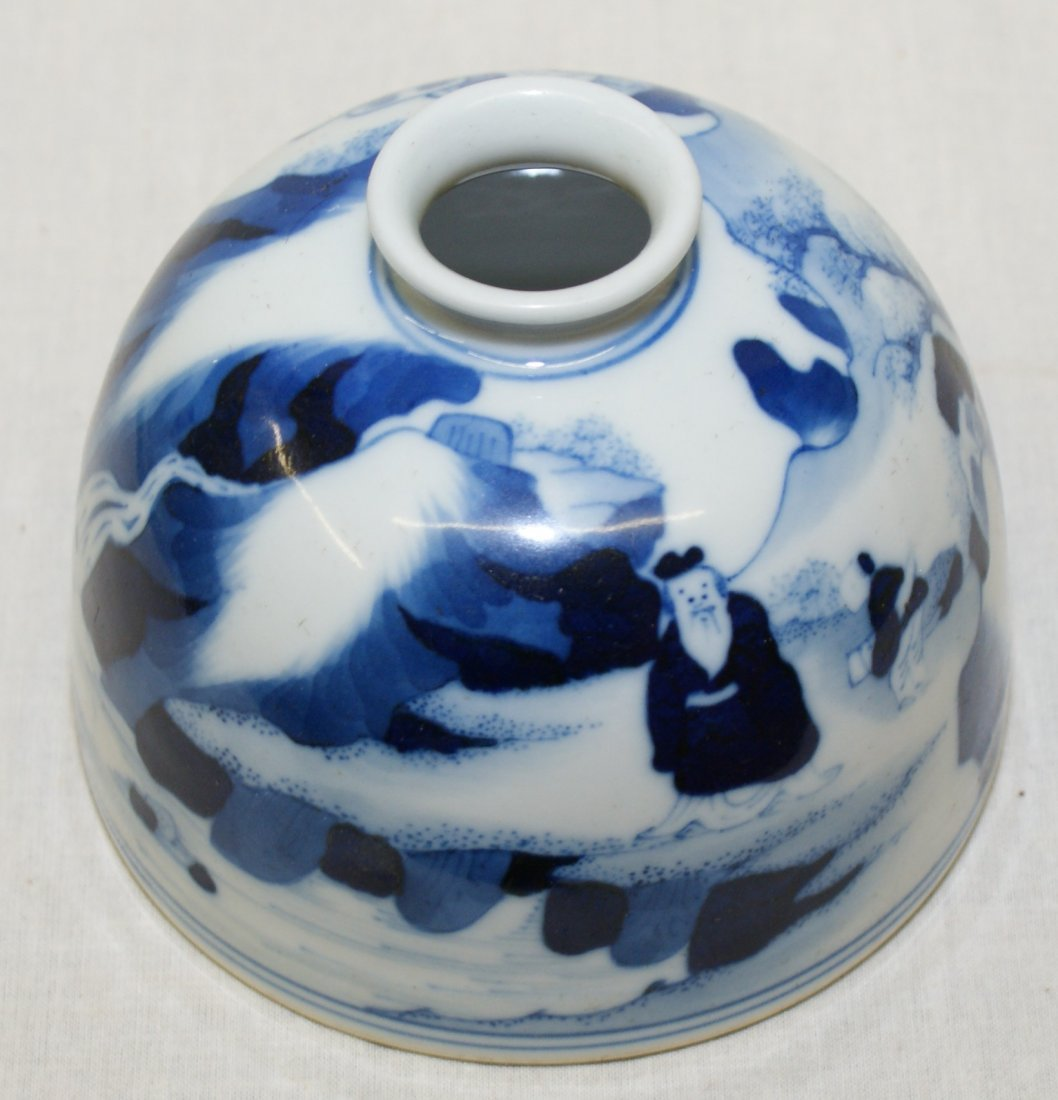 Blue and white water holder. Qing Kangxi Mark. - 2