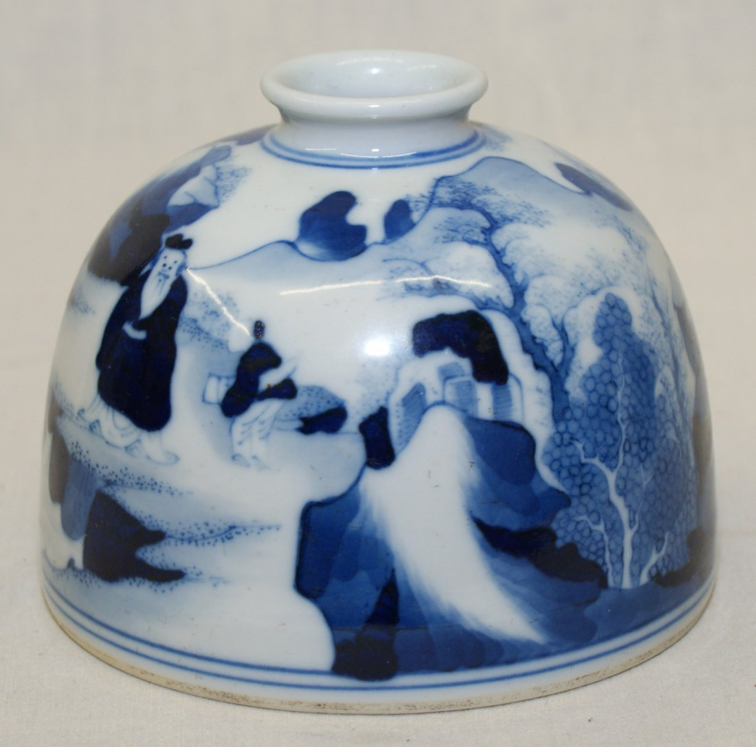 Blue and white water holder. Qing Kangxi Mark. - 5