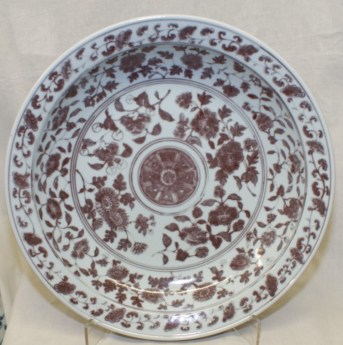 Underglaze red plate.  Early Ming Period.