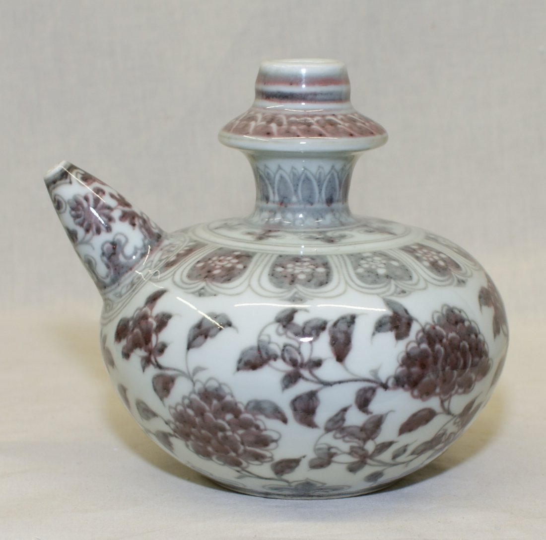 Underglaze red wine jug.  Early Ming Period.
