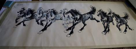 Large painting of horse group by Xu Bei Hong