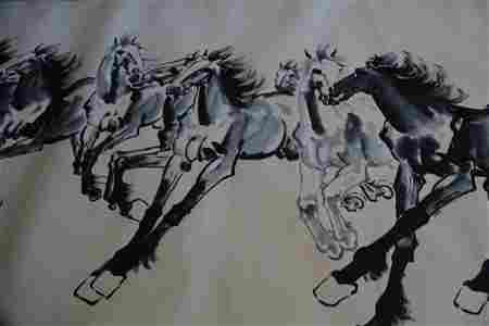 Large painting of horse group by Xu Bei Hong.