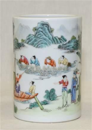 Famille rose brush pot. Qing Daoguang Mark.