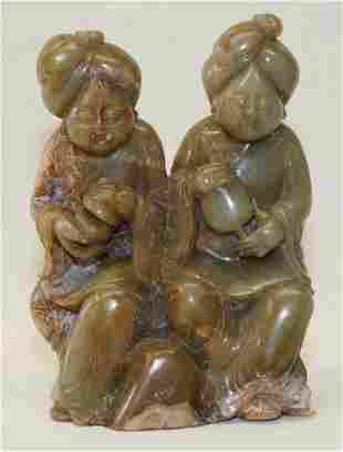 Green jade carving of 2 fat ladies. Tang Period