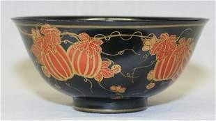 Black glaze bowl. Qing Qianlong Mark.