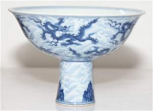 Blue and white 9-dragon stem bowl. Ming Xuande Mark.