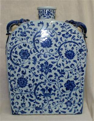 Blue and white rectangular flask. Probably Ming