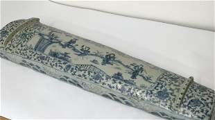 Blue and white musical instrument-guching. Ming Wanli