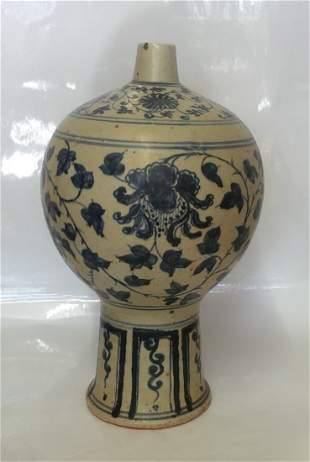 Blue and white vase. Yuan thru Early Ming Period