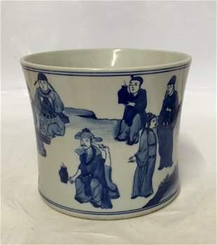 Blue and white brush pot. Kangxi Mark.