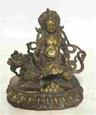 Old bronze Buddha sitting on qilin.