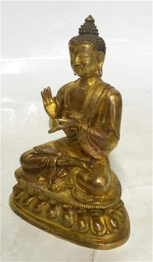 Gilt bronze Buddha. Qing Period