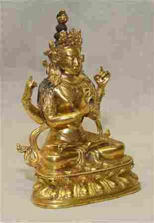 Gilt bronze buddha/Bhodisatva, Qing Period