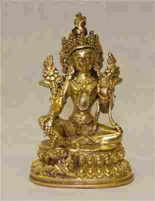 Gilt bronze Bodhisatva. Qing Period