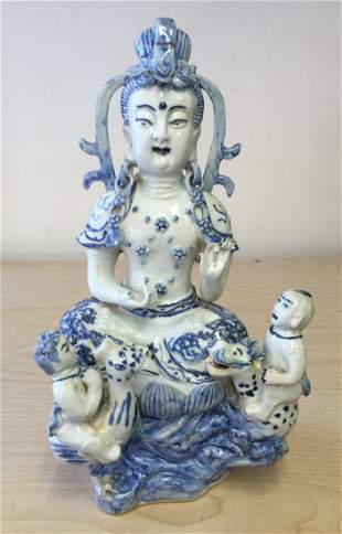 Blue and white guanyin. Qing thru Ming Period.