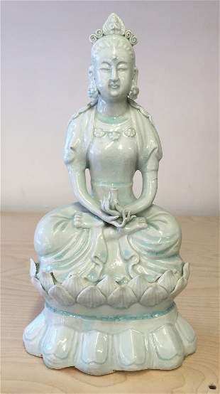 Yingqing glaze Buddha. Qing Period or Earlier.