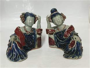 Pair of blue and red lady. Ming thru Qing Period