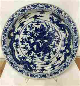 Blue and white 3 dragon plate. Yongle Mark.