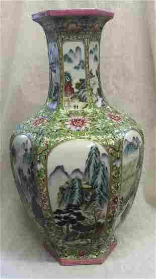 Famille rose 6 sided vase. Qing Tongzhi Mark.