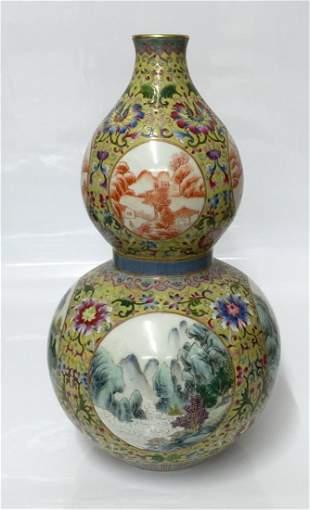 Famille rose double gourd, Qing Qianlong Mark.
