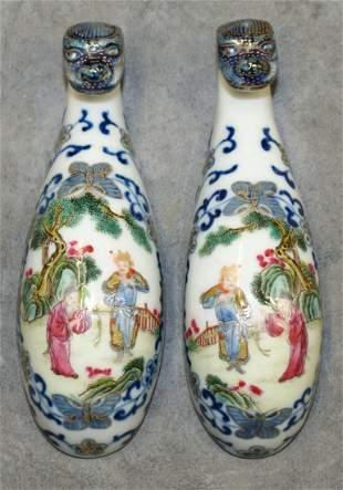 Pair of famille rose belt hook. Qing Jiaqing Mark.