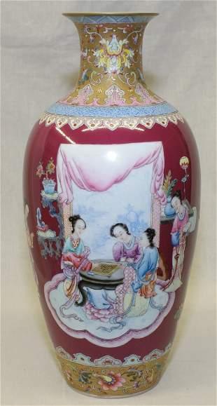 Crimson red famille rose vase. Qing Yongzheng Mark.