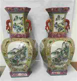 Pair of large famille rose vase. Qing Xianfeng Mark