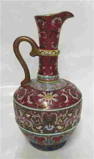 Crimson red famille rose ewer-shape vase. Qing Qianlong