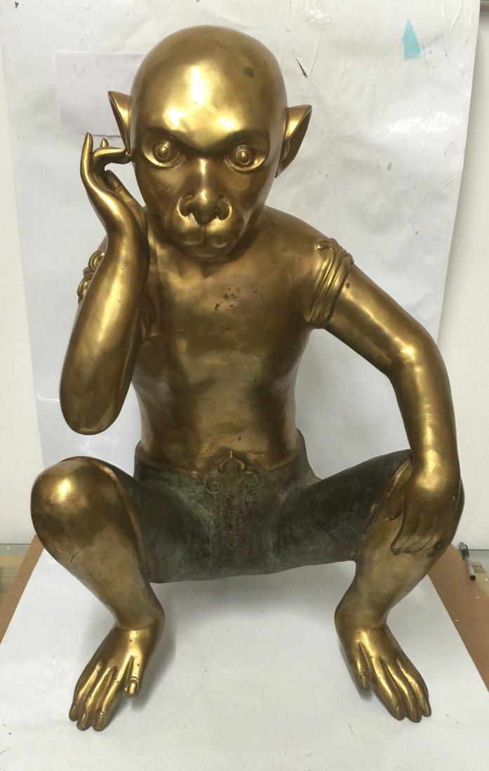 Large gilt bronze thinking monkey. Period not sure.