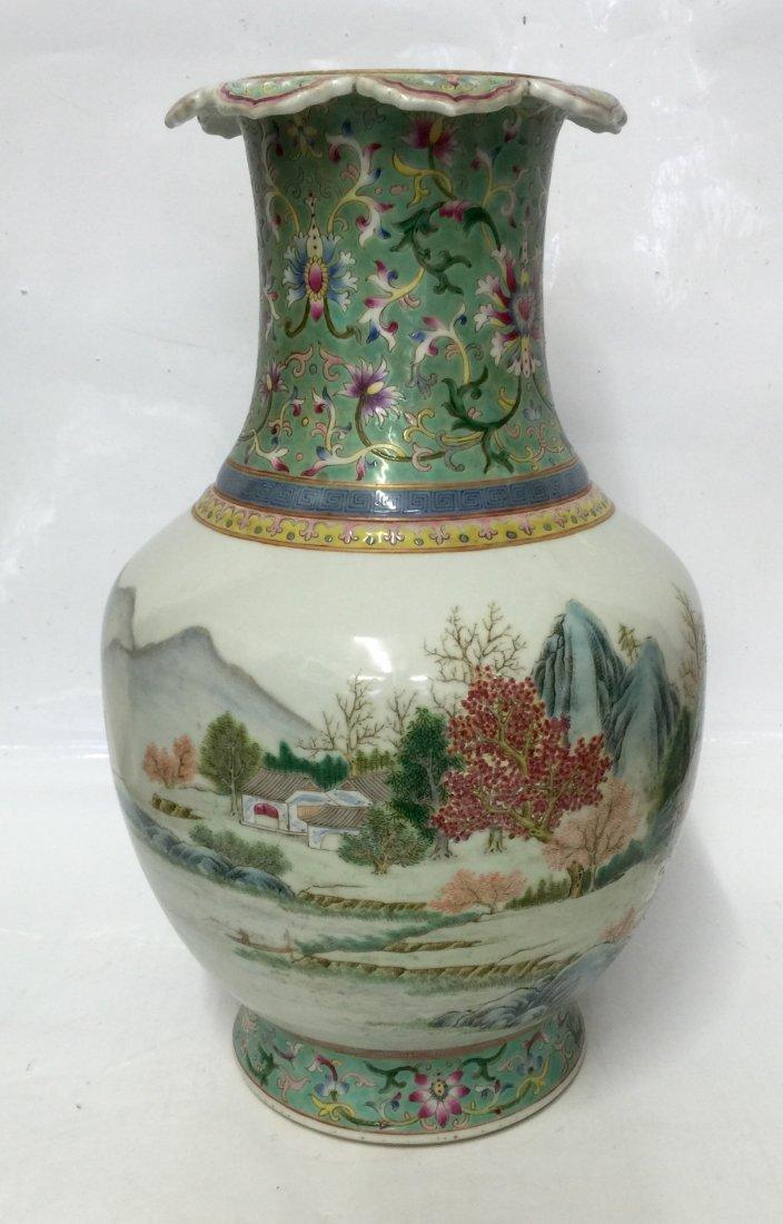 Famille rose umbrella vase. Qing Daoguang Mark.