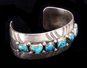American Southwest Navajo Silver and Turquoise Cuff