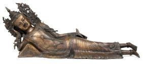 Large Thai 20th C. Bronze Reclining Buddha