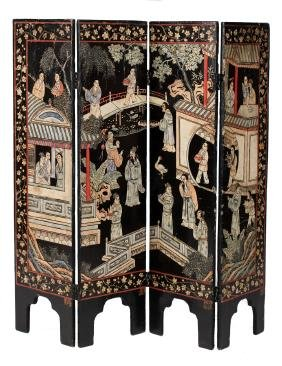 Chinese Qing Dynasty Four Panel Lacquered Coromandel